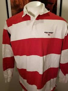 RALPH LAUREN SPORT SHIRT VINTAGE TOP ORIGINAL POLO RUGBY Red Striped Large