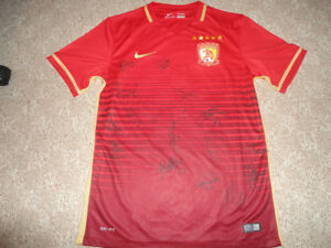 Authentic Chinese Guangzhou Evergrande Autographed Soccer Football Shirt Jersey