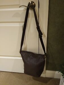 DKNY cross-body dark brown soft leather handbag with adjustable comfort strap