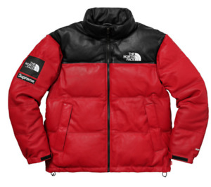 Supreme The North Face Leather Nuptse Jacket - FW17 - Red - Large - In Hand