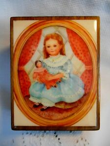 Reuge Swiss Movement Music Box Wood Victorian Little Girl & Doll IRISH LULLABY