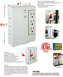 6 Outlet Wall Tap Adapter Swivel 2500 watt Ac Surge Protector Grounded Electricl
