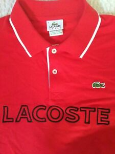 Lacoste Sport 🐊 Mens Polo Shirt 4 M BIG Spell Out Logo Short Sleeve Red