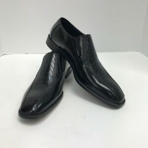 Men's Black Loafer Dress Shoes Sio Silver Buckle Ostrich Leg Design Sizes 9