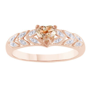 Christmas Special Morganite Solitaire With Accent Ring 18K Rose Gold Plated