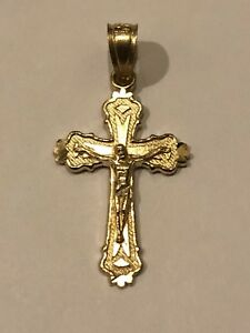 Cross Pendant Charm Solid 14k Yellow Gold Small 1