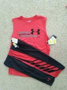 NEW Boys UNDER ARMOUR 2Pc OUTFIT BlkRed Basketball Shorts & Tank Top Pick Size