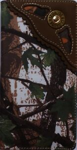 Bullet Mens Wallet Western Bifold Check Book Style W1111 Camo Brown