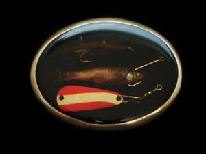 ND23173 *NOS* VINTAGE 1970s **REAL FISHING LURES** BELT BUCKLE