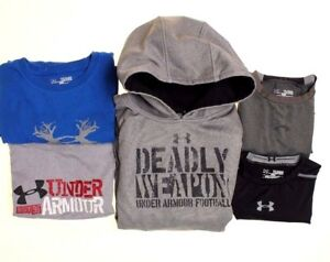 Lot of 5 Under Armour Boys' Sweatshirts and Shirts Size Youth X-Large