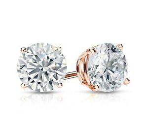 1.75 Ct Round Cut Stud Diamond Earrings in Solid 14k Rose Gold Screw Back Studs