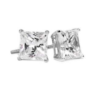 2 Ct Princess Cut Diamond Earrings in Solid 14k White Gold Screw Back Studs