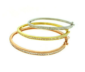 Tri-Gold 3 Bangle Set Pink Yellow White Gold Plated 925