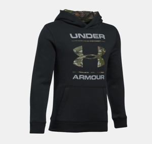 Under Armour UA Camo Fill Logo Boys' Hoodie - Black - Small - #1297457-001 - NWT