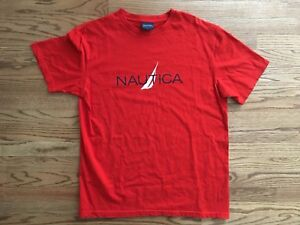 Vintage Nautica T-Shirt L - Made in USA - Logo Spellout - OG -  Polo Sport
