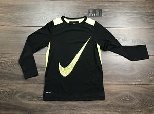 Nike Nike Dry-Fit Boys Training Long Sleeve Shirt Black Neon Yellow Small