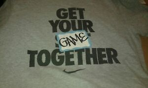 Nike Get You're Game Together  Gray T Shirt Sz Medium  Funny