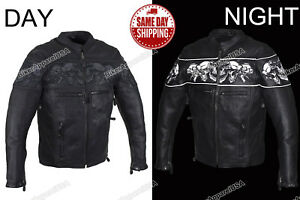Men's Race Collar With Reflective Skulls concealed gun pockets Leather Jacket