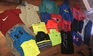 Huge 20 PC Lot Boys Clothes Nike Under Armour SZ L Youth PANTS HOODIES Shirts