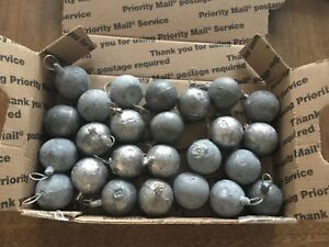 25 TOTAL 8oz LEAD SINKER CANNON BALLS FOR FISHING OR MELT DOWN