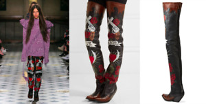 *VETEMENTS* Most Wanted Runway Hand-Painted Leather LOVE HATE Thigh Boots NIB 39