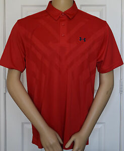 UNDER ARMOUR MENS ARMOURVENT HEATGEAR LARGE LOOSE FIT RED POLO GOLF SHIRT