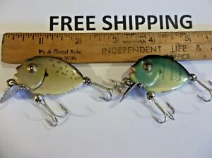 LOT OF 2 Vintage Heddon Tiny Punkinseed Fishing Lure CRANKBAITS TACKLE BOX FIND