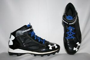 Under Armour Youth Cleats Size 6 Y Black White Blue Football Lacross Sports Shoe