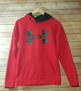 EUC Boys Under Armour Storm Hoodie Size XL Red Black Camo