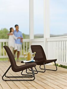 Patio Set 3 Pc Woven Rattan Table Reclined Relaxing Chairs All Weather Furniture