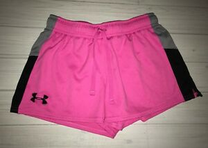Under Armour Heat Gear Loose Shorts Youth Girls L Large Pink Black Gray