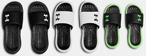 Under Armour Boys UA Playmaker Fixed Strap Slides Sandals Black, Green, White $25.99