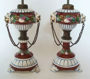 Victorian Hand Painted Ceramic Oil Lamps with Chain Swags & Lion Masks - C.1850