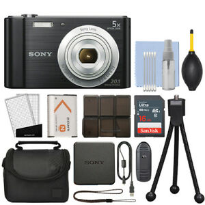 Sony Cyber-shot DSC-W800 20.1MP Digital Camera 5x Optical Zoom Black + 16GB Kit