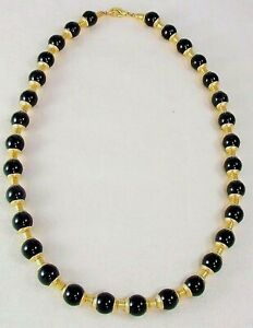 Egyptian Black Onyx Capped Necklace 20