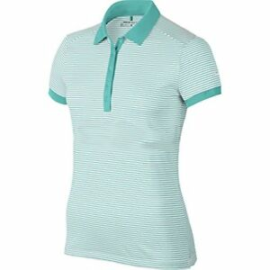Nike Golf Womens Dri-Fit Striped Victory Swoosh Polo Shirt TealWhite