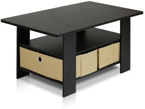 New FURINNO Home Living Espresso and Brown Built-In Storage Coffee Table