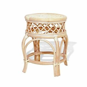 Handmade Round Stool Ginger ECO Natural Rattan Wicker ECO Plant Stand, Cream