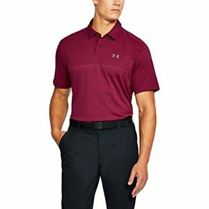 Under Armour Men's Tour Jacquard Polo Black CurrantRhino Gray Small