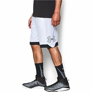Under Armour Men's Isolation Basketball Shorts WhiteBlack X-Large