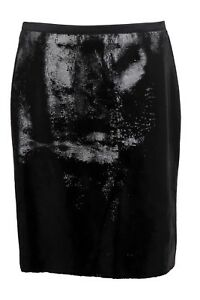 Tom Ford Calf Leather & Silk 46IT10US42EU Black Liquid Sequin Pencil Skirt