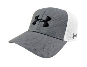 NEW Under Armour Golf Spacer Mesh GreyWhite Mens Fitted SM HatCap