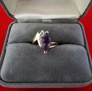 10k Solid Yellow Gold Amethyst & Diamond Ring Sz 7 from U. S. Excellent