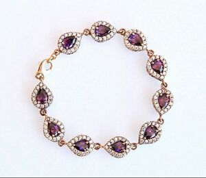 Authentic Simulated Amethyst Crystal Bracelet Sterling Silver Turkish Jewelry