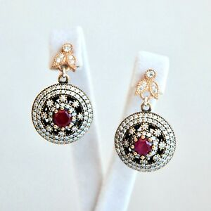 Authentic Ruby Simulated Crystal Earrings 925 Sterling Silver Turkish Design