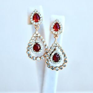 Authentic Ruby & Simulated Crystal Earrings 925 Sterling Silver Turkish Ottoman