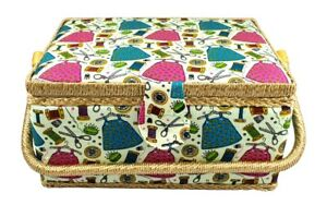 Large Sewing Basket w Handy Tray and Sewing Notions $32.50