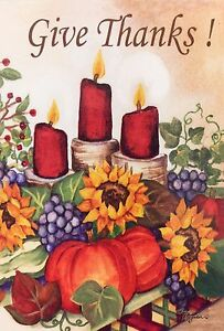 Give Thanks Candles Garden Flag 12'x18