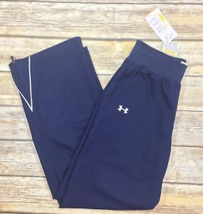 Under Armour Womens Pre Game Woven Warm Up Pants track navy blue size Small NEW