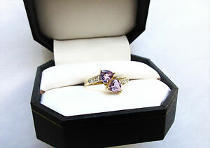 Nice! 10k Solid Yellow Gold Amethyst and Diamond Bypass Ring. Sz. 7.5